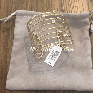 "NWT Michael Kors ""bright gold clear stone cuff"""